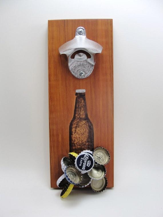 Wall Mount Bottle Opener Magnet Cap Catcher Beer Bottle Burnt