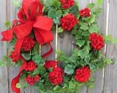 Spring / Summer Door Wreath - Spring / Summer Door Wreath, Red Geraniums, Red Wreath, Geranium Wreath, Etsy Wreath
