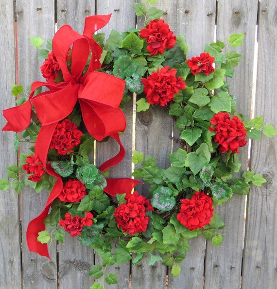 Spring / Summer Door Wreath - Spring / Summer Door Wreath, Red Geraniums, Red Wreath, Geranium Wreath, Etsy Wreath