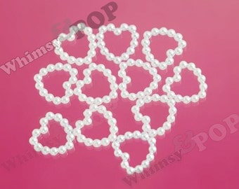 50 - White Pearl Heart Flatback Resin Decoden Cabochons, Heart Cabochon, 11MM (R8-131,C2-12)