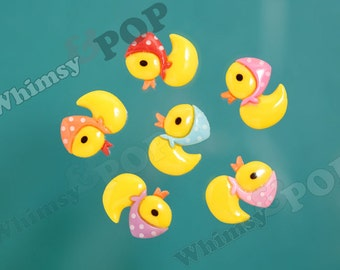 Flatback Resin Female Yellow Girl Scarf Rubber Ducky Cabochons, Duck Cabochons, Rubber Ducky, 16mm x 20mm (R5-019)