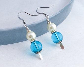 Sea Blue Earrings, Pearl Jewelry, Wedding Earrings, Mothers Day Jewelry, Jane Austen Jewelry, Edwardian Inspired, Mother's Day Earrings