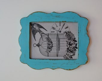 Hand Painted Rustic Shabby Chic Distressed Vintage Retro Blue and Gold Picture Frame - Wall Art