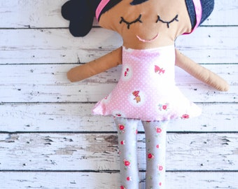 Plush Brown Girl Doll with Black Hair