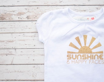 Girls' Sunshine and Happy Faces Gold Glitter White Short Sleeved Tee