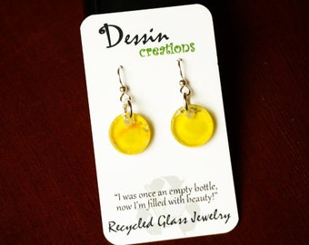 Little Circles, Recycled Glass Earrings, Made from a Grey Goose Vodka Bottle, Eco Friendly Upcycled Earrings, Eco Gift, Dessin Creations