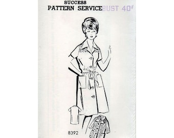 1960s Smocked Shirtdress House Coat or Smock Pattern Woman's Day Mail Order Vintage Sewing Pattern Bust 40 Plus Size FF Unused