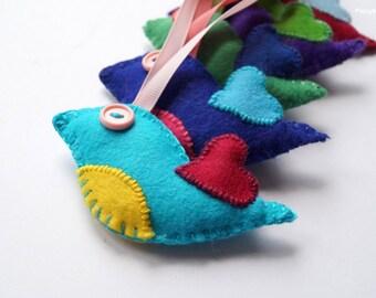 Felt Birds - Felt Ornaments - Home Decor - Felt Bird Ornament OOAK
