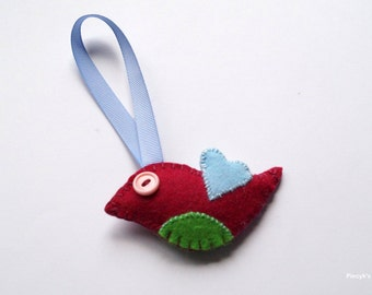 Felt Bird - Felt Ornament - Home Decor - Maroon Felt Bird Ornament OOAK