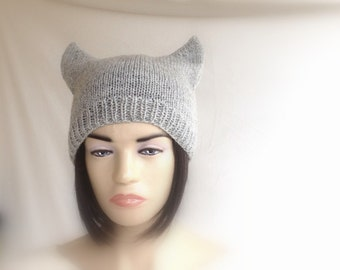 Gray Cat Ears Hat Cat Beanie Knit Hat Winter Accessories Cat Beanie Womens Fashion For Her Gift Ideas Christmas Gifts senoAccessory