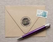Self Inking Address Stamp modern retro design, wedding address stamp NEON SIGN Design Interchangeable custom stamp or wood handle