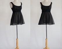 Black Babydoll / Sheer Lingerie / Black Camisole / Vintage Lingerie / Vanity Fair / Sheer Top