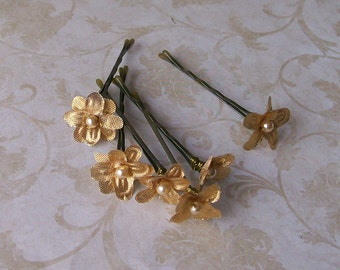 Metallic Gold Flower Mini Hair Pins - Set of Six