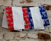 St. Louis CARDINALS burp cloth, Kansas City Royals burp rag, vintage cardinal and royals fabric, limited edition, go cards
