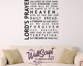 Lord's Prayer Wall Decal, Home Prayer Decal, Family Room Bible Decal