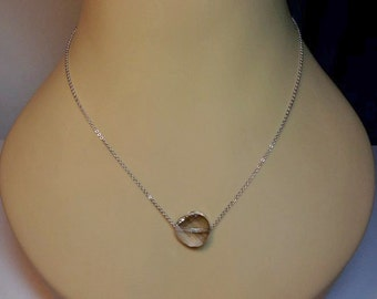 Swarovski Floating Crystal Silver Shade White Gold Necklace, Mothers Day, LAST ONES, Mom Sister Grandmother Jewelry Gift, Delicate, Simple