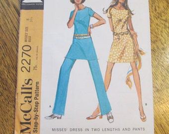 1970 EASY Geometric A Line Mini Dress - Color Block Seaming Detail + Trousers - CHOOSE Size 8 or 12 - VINTAGE Sewing Pattern McCalls 2270