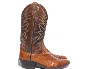 9.5 D | Dan Post Eel Skin Cowboy Boots Reddish Brown Western Boots