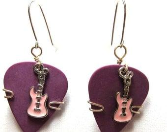 Guitar Pick Earrings - Purple picks with pink guitars