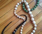 3 Vintage Beaded Necklace Lot ~ Bohemian - Wooden - Free US Shipping