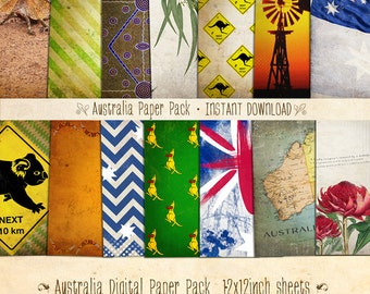 Australia Digital Paper Pack 14 Digital Sheets - INSTANT DOWNLOAD - Scrapbooking Card Making or Blog Backgrounds by Sassaby