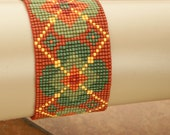 FREE SHIPPING-BRACELET/Cuff Floral Seed Bead Bracelet Orange Bracelet Loom Cuff Gift for Her Valentine's Gift Mother's Day Gift Hand Made