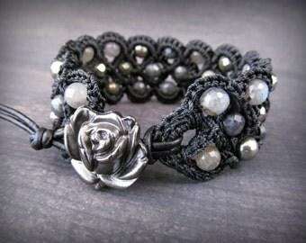 Crochet Cuff Bracelet, Rustic Dark, Boho Chic, Pyrite, Labradorite gemstone,Bohemian Gypsy jewelry