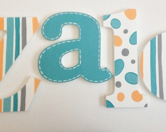 Turquoise Polka Dots, Stripes & Stitched Wooden Wall Name Letters / Hangings, Hand Painted for Kids Rooms, Play Rooms and Nursery Rooms
