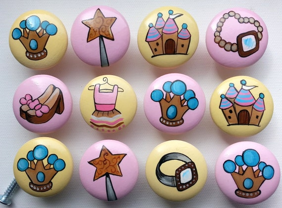 Girly Princess Drawer Pulls / Dresser Knobs / Closet Handles / Hand Painted for Girls, Nursery Rooms