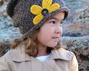 CROCHET PATTERN - Pretty Petals Slouchy - crochet slouchy hat pattern crochet hat pattern (Toddler Child Adult sizes) - Instant PDF Download