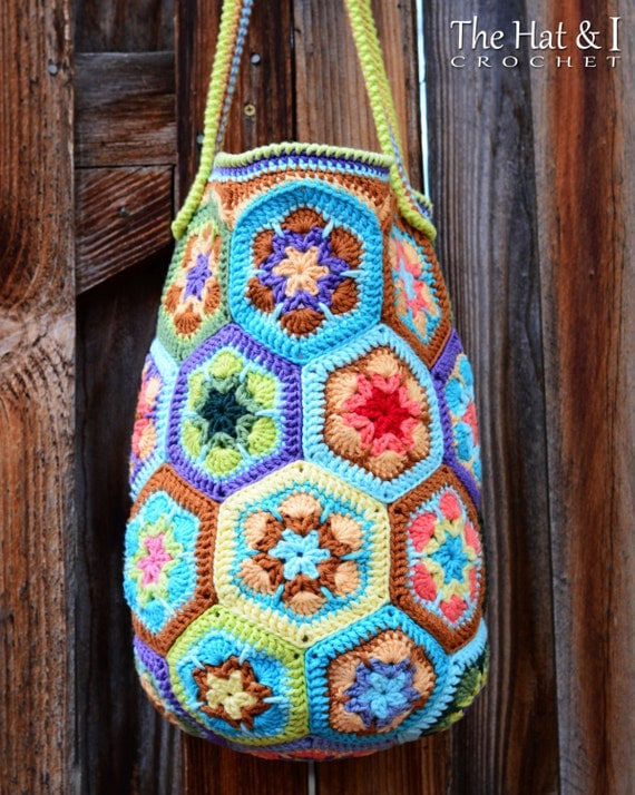 Crochet Boho Bag : CROCHET PATTERN - Boho Bag - an african flower crochet bag pattern ...