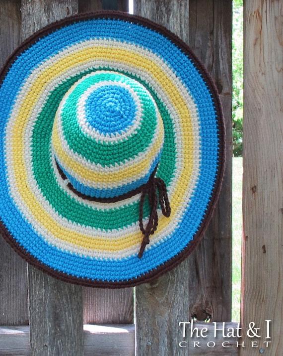 CROCHET PATTERN - Poolside - crochet sun hat pattern, summer hat pattern, wide brimmed hat in 3 sizes (Adult S, M, L) - Instant PDF Download