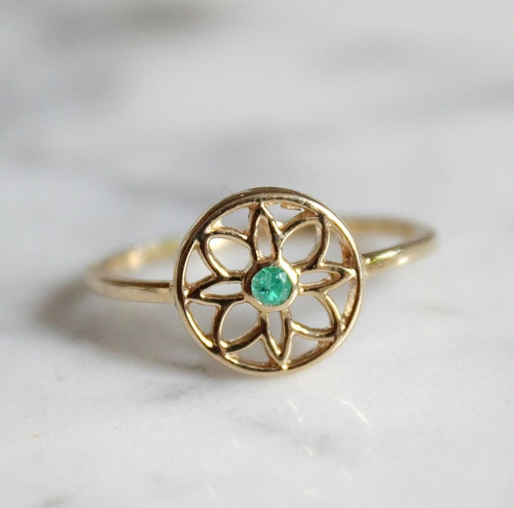 emerald deco ring emerald ring flower ring green