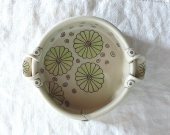 Small Baking Dish, Brie Baker, Serving Dish with Green Daisies and Purple Spirals