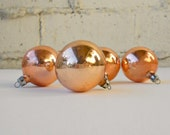 Peach Holiday Ornaments, Set Four Vintage Christmas Balls, Mercury Glass Like Retro Decor