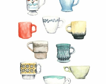 vintage coffee cup art print - 8x10 // archival giclee print // kitchen art // wall decor