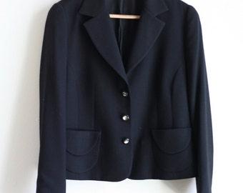 Black Pearl Button Blazer - M