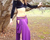 Juliet Maxi Tribal Skirt with Open Sides and Drapings, Custom Color, Bellydance, Burning Man Playa Wear, Burlesque, Goddess Costume