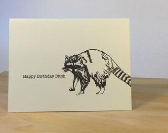 Happy Birthday Raccoon Letterpress Card