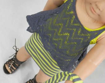"Athletic Outfit Fits 18"" Dolls Neon Yellow and Gray Stripe Infinity Scarf and Skirt, Gray Chevron Lace Tunic and Tank"