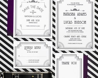 The Great Gatsby Art Deco Old Hollywood Wedding Invitation Printable Set of 4