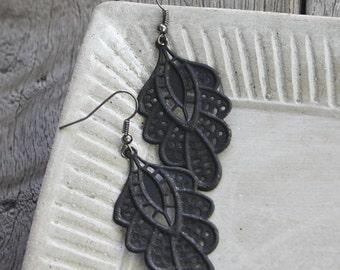 Bohemian Lace Filigree Earrings - Black Patina earrings, black earrings, lace earrings, gypsy earrings, boho earrings, bohemian earrings