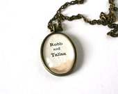 Anniversary jewelry. Custom name necklace. Vintage art pendant necklace. Upcycled art gift. Boyfriend girlfriend necklace. OOAK name gift.