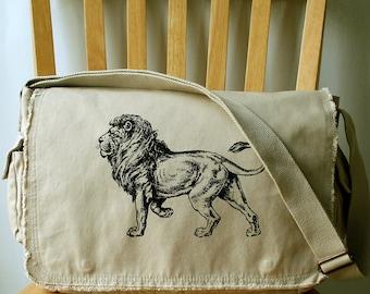 Lion Canvas Messenger Bag Diaper Bag Large Carryall Bag for Men Bag for Women