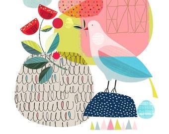 Pretty bird, springtime, print