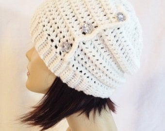 slouch,beanie,hat,cap,decorated slouch,slouch with buttons,beanie with buttons, white with glass buttons, made to fit teens & adults 21-23""