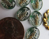 Tiny Vintage  Western German Glass Cabochon With Asian Woman Holding Parasol