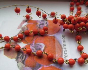 6mm Vintage Japanese Persimmon  Two ended Hoop Beads