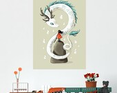 Anime Girl and Dragon Wall Sticker Decal – Dragon Spirit by Indre Bankauskaite
