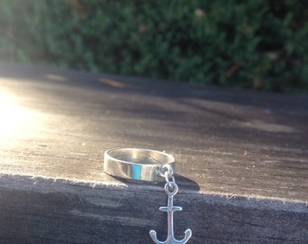 Sterling Silver Anchor Ring Size 7